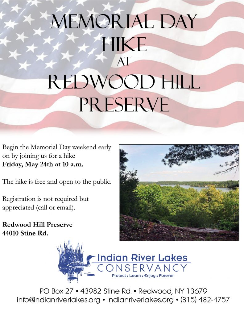 Flier for a hike at Redwood Hill Preserve on May 24, 2019, 10am
